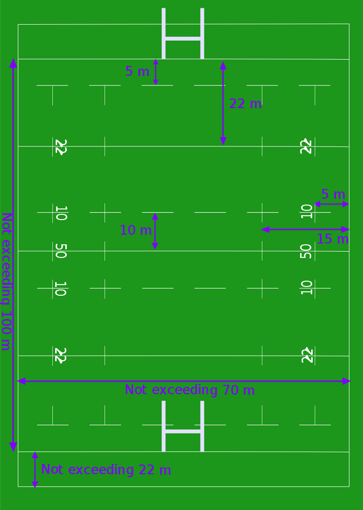 dimensions terrain rugby